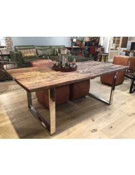 Esstisch Gestell silber Glasplatte, Tisch verchromte Tischbeine, Maße 200 x 100 cm
