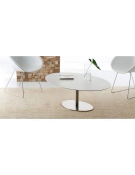 Couchtischtisch weiß oval, ovaler Tisch weiß,  Loungetisch oval, Länge 120 cm