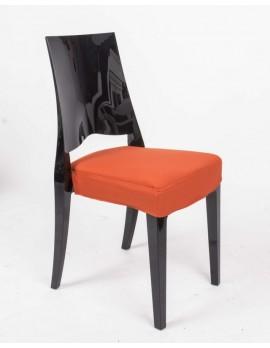 Stuhl schwarz mit Sitzkissen,  Outdoor Stuhl aus Kunststoff schwarz