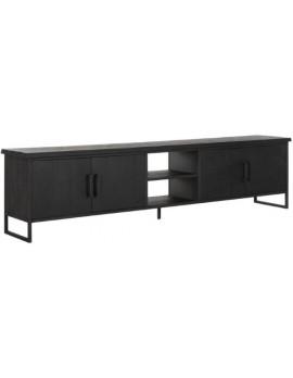 TV Schrank Altholz, TV Schrank Industriedesign, TV-Schrank schwarz, recyceltes Teakholz, 4 Türen, 2 Regalflächen, Breite 220 cm
