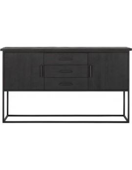 Schrank Altholz, Schrank Industriedesign, Kleiderschrank schwarz, Kommode, recyceltes Teakholz, 2 Türen, 3 Schubladen, Breite 158 cm