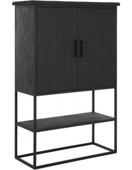 Schrank Altholz, Schrank Industriedesign, Kleiderschrank schwarz, Kommode, recyceltes Teakholz, 2 Türen, 1 Regalfläche, Breite 140 cm