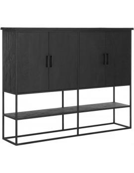 Schrank Altholz, Schrank Industriedesign, Kleiderschrank schwarz, Kommode, recyceltes Teakholz, 4 Türen, 1 Regalfläche, Breite 180 cm