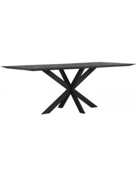 Esstisch Altholz, Esstisch schwarz, Esstisch Industriedesign, Konferenztisch, recyceltes Teakholz, Breite 210 cm
