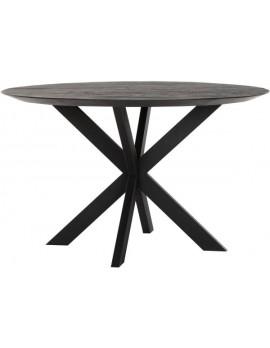 Esstisch Altholz, Esstisch schwarz, Esstisch Industriedesign, Esstisch rund, recyceltes Teakholz, Ø 130 cm