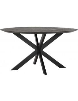 Esstisch Altholz, Esstisch schwarz, Esstisch Industriedesign, Esstisch rund, recyceltes Teakholz, Ø 150 cm