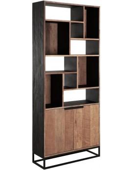 Schrank Altholz, Schrank Industriedesign, Bücherschrank, recyceltes Teakholz, 2 Türen, 10 Regalflächen, Breite 90 cm