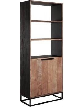 Schrank Altholz, Schrank Industriedesign, Bücherschrank, recyceltes Teakholz, 2 Türen, 3 Regalflächen, Breite 80 cm