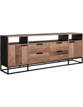 TV Schrank Altholz, TV Schrank Industriedesign, recyceltes Teakholz, 3 Regalflächen, 2 Türen, 4 Schubladen, Breite 200 cm