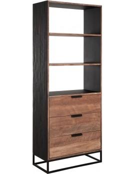 Schrank Altholz, Schrank Industriedesign, Bücherschrank, recyceltes Teakholz, 3 Schubladen, 3 Regalflächen, Breite 80 cm