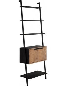 Regal Altholz, Regal Industriedesign, Wandregel, 2 Türen, 4 Regalflächen, recyceltes Teakholz, Breite 70 cm