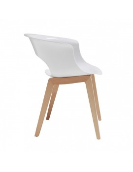 Stuhl Natural aus Kunststoff, Holz mit Armlehne, weiß