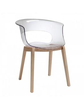 Stuhl Natural aus Kunststoff, Holz mit Armlehne, transparent