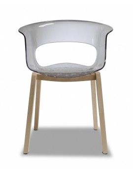 Stuhl Natural aus Kunststoff, Holz mit Armlehne, transparent grau