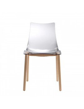 Stuhl Natural aus Kunststoff, Beine aus Holz Buche, transparent
