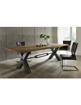 Esstisch Eiche massiv, Tisch im Industriedesign, Gestell aus Metall, Maße 220 x 100 cm