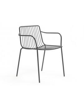 Gartenstuhl grau Metall mit Armlehne, Stuhl grau mit Armlehne Metall stapelbar