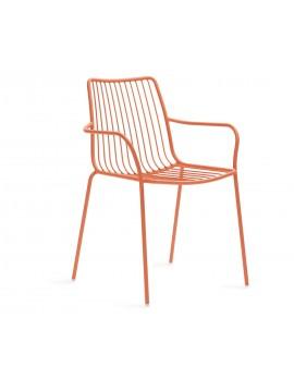 Gartenstuhl orange mit Armlehne Metall, Stuhl  orange Metall mit Armlehne stapelbar