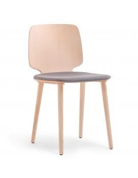 Stuhl gepolstert Holz-Natur, Design-Stuhl gepolstert Naturholz