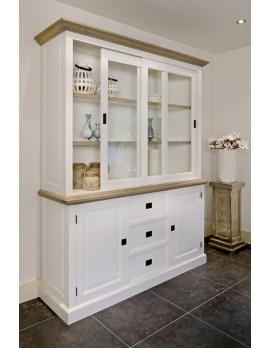 Vitrine weiß Landhaus, Geschirrschrank mit vier Türen im Landhausstil, Breite 180 cm