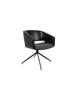Stuhl schwarz gepolstert, Stuhl mit Armlehne schwarz