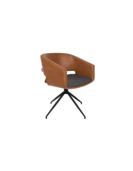 Stuhl braun gepolstert, Stuhl mit Armlehne braun