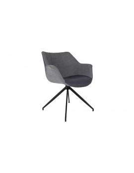 Stuhl schwarz, grau gepolstert, Stuhl mit Armlehne schwarz, grau