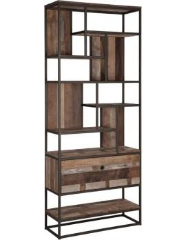 Schrank Altholz, Bücherschrank Industriedesign, recyceltes Teakholz, 1 Schublade, Breite 90 cm