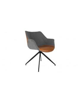 Stuhl braun, grau gepolstert, Stuhl mit Armlehne braun, grau