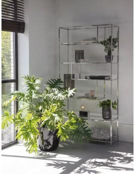Metall Regal verchromt Industriedesign, Bücherregal Glas-Metall, Glas Regal Metall, Breite 100 cm