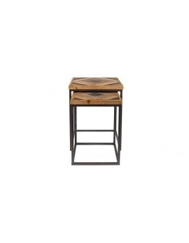 Beistelltische 2er Set Holz-Tischplatte, Beistelltisch Landhaus Metall-Gestell, Maße 48x48 cm