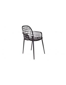 Gartenstuhl schwarz, Stuhl schwarz Outdoor, Stuhl mit Armlehne schwarz
