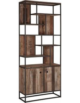 Schrank Altholz, Bücherschrank Industriedesign, recyceltes Teakholz, mit Unterschrank, Breite 90 cm