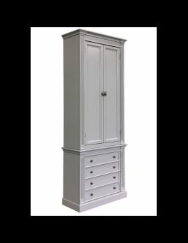 Schrank grau, Bücherschrank weiß Landhaus, Aktenschrank grau Landhausstil,  Breite 100 cm