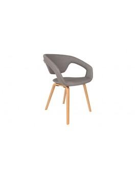 Stuhl grau gepolstert, Stuhl mit Armlehne grau