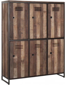 Schrank Altholz, Garderobenschrank Industriedesign, recyceltes Teakholz, Spind, Schließfach, Breite 120 cm