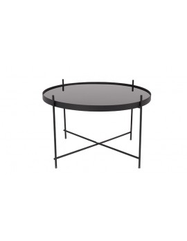 Beistelltisch schwarz ,Beistelltisch Metall mit Glas ,Runder Beistelltisch, Beistelltisch groß