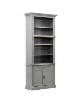 Bücherschrank grau Landhaus, Schrank grau, Aktenschrank grau Landhausstil,  Breite 100 cm