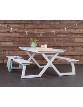 Picknickbank weiß, Gruppensitzbank weiß, Sitzgruppe Aluminium weiß, Picknick Sitzgruppe weiß, Gartentisch mit Bank weiß, Breite 180 cm