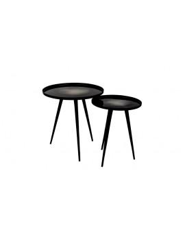 Beistelltisch Aluminium ,Runder Beistelltisch schwarz, Beistelltisch Set (2)
