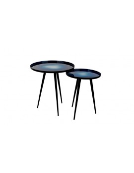 Beistelltisch Aluminium ,Runder Beistelltisch Blau, Beistelltisch Set (2)