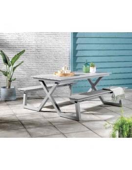 Picknickbank grau, Gruppensitzbank grau, Sitzgruppe Aluminium grau, Picknick Sitzgruppe grau, Gartentisch mit Bank grau, Breite 180 cm