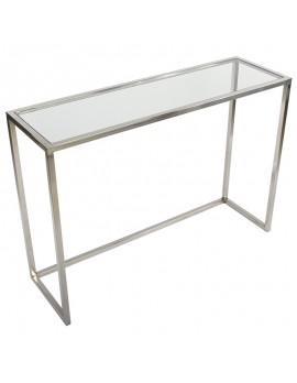Konsole Glas Silber, Wandkonsole Metall silber, Wandtisch verchromt Glas-Metall, Breite 120 cm