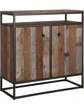 Kommode Altholz, Kommode Industriedesign, Kleiderschrank, recyceltes Teakholz, 2 Türen, Breite 90 cm