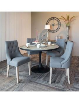 Tisch rund schwarz, Esstisch schwarz Metall, Durchmesser 140 cm
