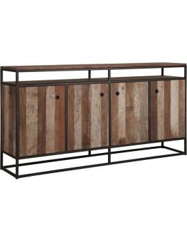 Kommode Altholz, Kommode Industriedesign, Kleiderschrank, recyceltes Teakholz, 4 Türen, Breite 178 cm