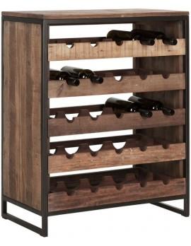 Weinschrank Altholz, Weinschrank Industriedesign, recyceltes Teakholz, 5 Schubladen, Breite 70 cm