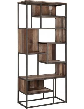 Schrank Altholz, klein, Bücherschrank Industriedesign, recyceltes Teakholz, Breite 80 cm