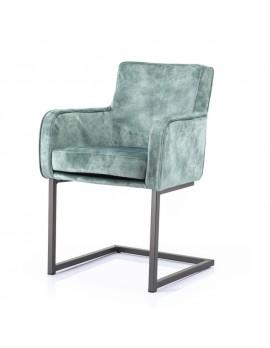 Stuhl mit Armlehne, Stuhl grün, Freischwinger gepolstert grün