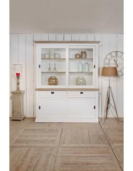 Vitrinenschrank weiß, Geschirrschrank,  Wohnzimmerschrank im Landhausstil, Breite 180 cm